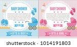 set of baby shower invitation... | Shutterstock .eps vector #1014191803