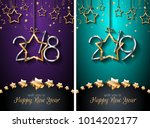 2018  2019 happy new year... | Shutterstock . vector #1014202177