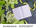 mockup notebook with white... | Shutterstock . vector #1014218197