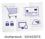 Shopping Cart, Credit Card, Lock, Screen, Cloud. Wireframe icons on folded paper. - stock vector