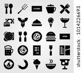restaurant vector icon set.... | Shutterstock .eps vector #1014226693