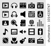 multimedia vector icon set.... | Shutterstock .eps vector #1014230767