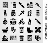 medical vector icon set. pills  ... | Shutterstock .eps vector #1014232117