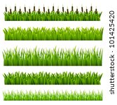 Set from grass of green border.(can be repeated and scaled in any size) - stock vector