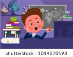 the boy yawns at the lesson and ... | Shutterstock .eps vector #1014270193