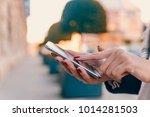 girl pointing finger on screen... | Shutterstock . vector #1014281503