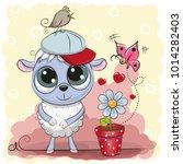 greeting card cute cartoon...   Shutterstock .eps vector #1014282403