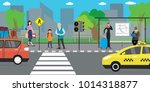 city street and road public... | Shutterstock .eps vector #1014318877