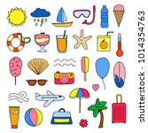 set of doodle colorful summer... | Shutterstock .eps vector #1014354763