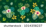 tropical leaves and flowers on... | Shutterstock .eps vector #1014358237