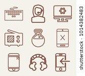 set of 9 technology outline...   Shutterstock .eps vector #1014382483