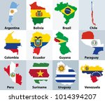 maps mixed with flags of the... | Shutterstock .eps vector #1014394207