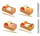 vector set of japanese bento... | Shutterstock .eps vector #1014400687