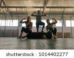 young people posing and flexing ... | Shutterstock . vector #1014402277