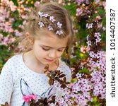 portrait of adorable little... | Shutterstock . vector #1014407587