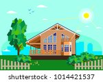 concept beautiful country house ... | Shutterstock .eps vector #1014421537