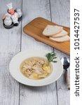 chicken soup top view  | Shutterstock . vector #1014427537