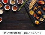 grilled vegetables on black...   Shutterstock . vector #1014427747