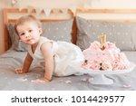 portrait of cute adorable... | Shutterstock . vector #1014429577