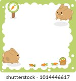 two bunnies jumping in blank... | Shutterstock .eps vector #1014446617