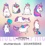 magic unicorn doodle patches.... | Shutterstock .eps vector #1014450043