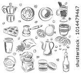 hand drawn set coffee vector... | Shutterstock .eps vector #1014479467