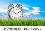 Alarm Clock In Green Grass  3d...