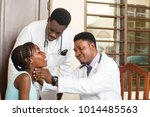 doctor in white coat and with a ... | Shutterstock . vector #1014485563