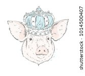 beautiful pig in the crown.... | Shutterstock .eps vector #1014500407