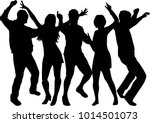 dancing people silhouettes.... | Shutterstock .eps vector #1014501073