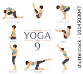 set of 8 yoga poses in flat... | Shutterstock .eps vector #1014503047