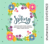 spring card with cute flowers | Shutterstock .eps vector #1014519823