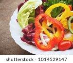 fresh vegetable salad in the... | Shutterstock . vector #1014529147