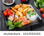 chicken breast wrapped in... | Shutterstock . vector #1014534103
