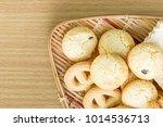 butter cookies in bamboo bowl... | Shutterstock . vector #1014536713