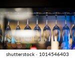 empty glasses wine in... | Shutterstock . vector #1014546403