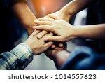 businessman and businesswoman... | Shutterstock . vector #1014557623