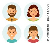 set of happy family round... | Shutterstock .eps vector #1014557707