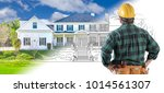 male contractor with hard hat... | Shutterstock . vector #1014561307