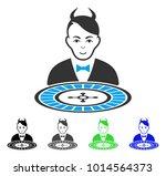 happy devil roulette dealer... | Shutterstock .eps vector #1014564373