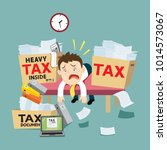 businessman with many tax debt... | Shutterstock .eps vector #1014573067