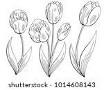 tulip flower graphic black...   Shutterstock .eps vector #1014608143