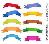 set of ten multicolor ribbons... | Shutterstock .eps vector #1014629743