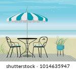 summer scene bistro table and... | Shutterstock .eps vector #1014635947