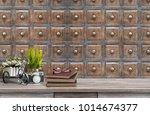 mock up old book camera... | Shutterstock . vector #1014674377