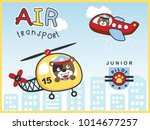 air transportations with funny... | Shutterstock .eps vector #1014677257