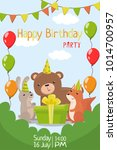happy birthday party invitation ... | Shutterstock .eps vector #1014700957