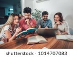 group of students study at home.... | Shutterstock . vector #1014707083