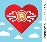 bitcoin and red heart on blue... | Shutterstock .eps vector #1014711523