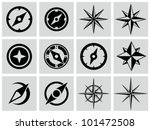 Compasses icons set. - stock vector